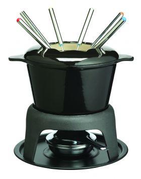 MasterClass fonduesett støpejern svart 21x18 cm 1,3L