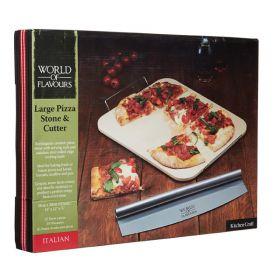 KitchenCraft pizzastein m/kutter 38x30x0,5 cm