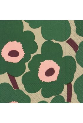 Marimekko Unikko Grønn Rose Servietter 20pk