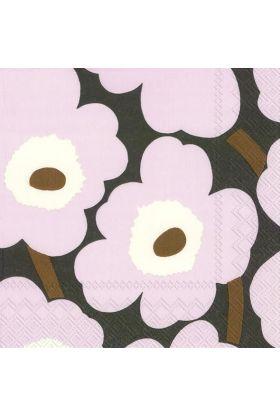 Marimekko Unikko rosa/brun Servietter 20pk