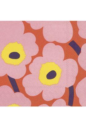 Marimekko Unikko rosa/orange Servietter 20pk