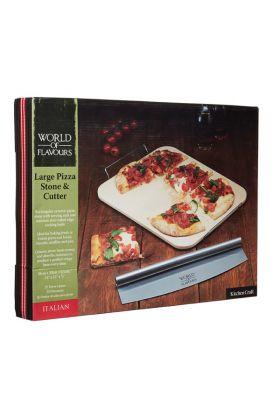 KitchenCraft, pizzastein m/kutter 38x30x0,5 cm
