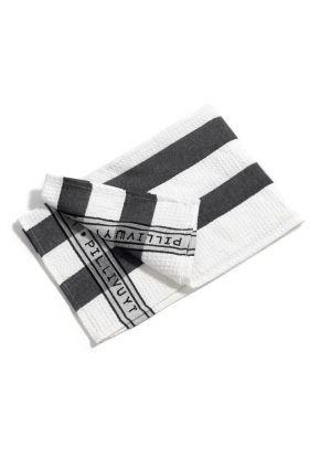 PILLIVUYT KJØKKENHÅNDKLE brede striper sort/hvit 60X90